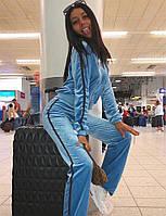 Велюровый спортивный костюм с кофтой на молниии прямыми штанами 65so800