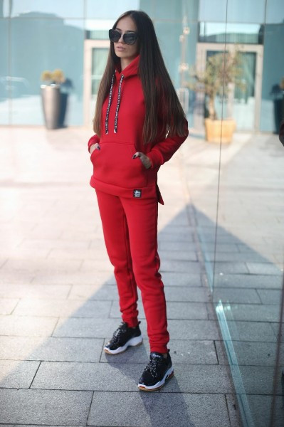 Женский спортивный костюм из трхнитки с кофтой на молнии 52so801