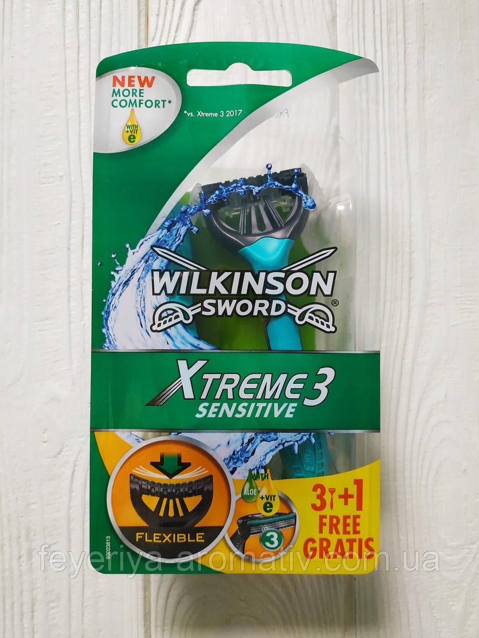 Станки для бритья одноразовые мужские Wilkinson Sword XTreme3 sensitive 4 шт (Германия)