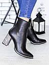 Кожаные женские демисезонные сапоги на каблуке и с острым носком 75OB97, фото 2