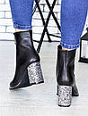 Кожаные женские демисезонные сапоги на каблуке и с острым носком 75OB97, фото 3