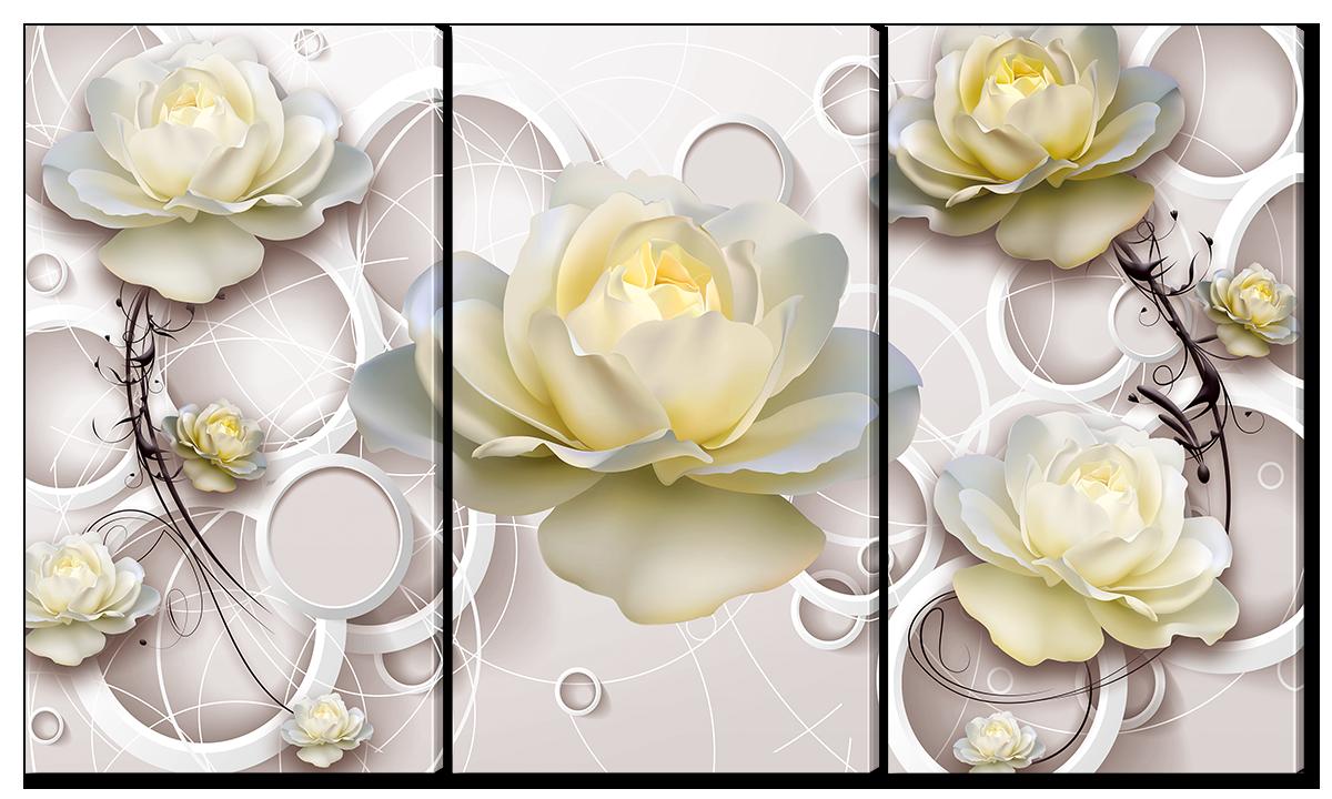 Модульная картина Interno Холст Бежевая роза 124х70см (R1386L)