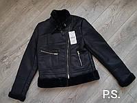Короткая кожаная дубленка косуха черная с мехом 76sb68
