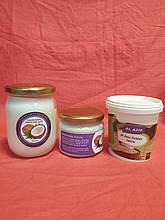 Смачне тріо - Кокосове масло рафіноване дезодороване Малайзія 0,5л+Кокосова паста 0,33л+кунжутна паста 0,45л