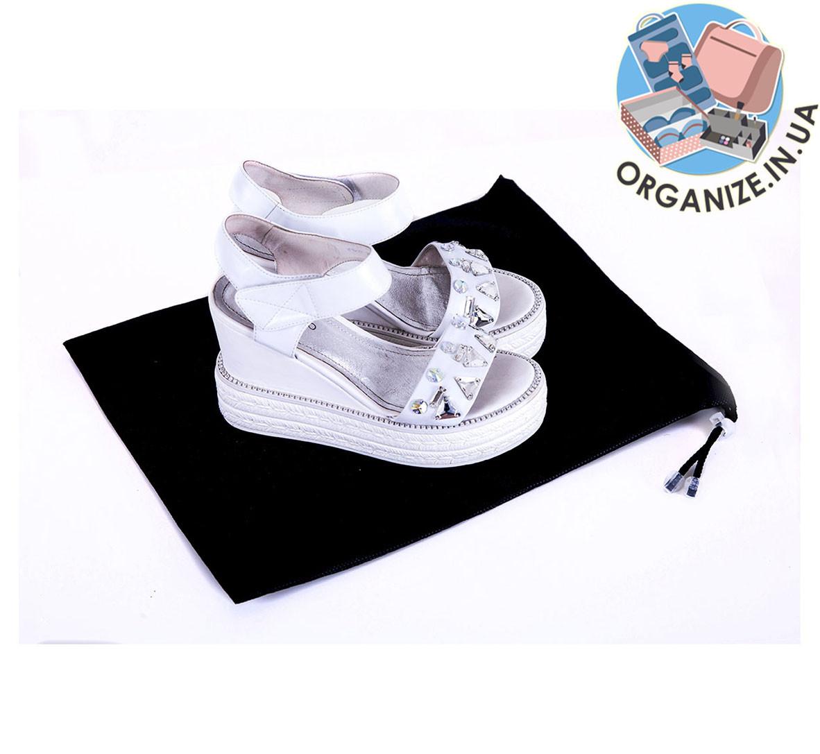 Мешок-пыльник для обуви с затяжкой (черный)