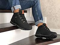 Ботинки зимние Timberland мужские (41-46), черные, в стиле Тимберленд, нубук, мех, код SD-8604