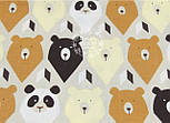 """Отрез ткани №1063а """"Мишки-треугольники"""" коричневые и бежевые, фото 2"""