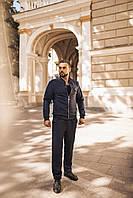 Мужской спортивный костюм из плотного замша, реглан-бомбер и штаны
