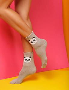 """Носки женские с принтом """"Панда"""" Серый"""