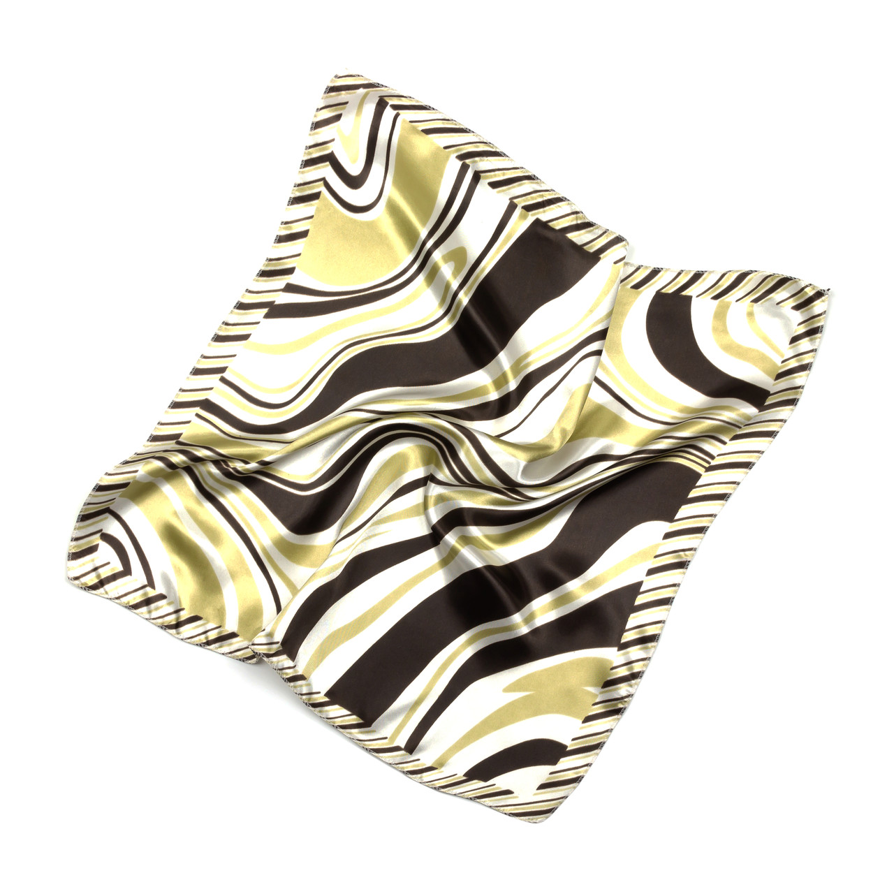Платок шейный из шелка бежево-черный (Ш-509-4)