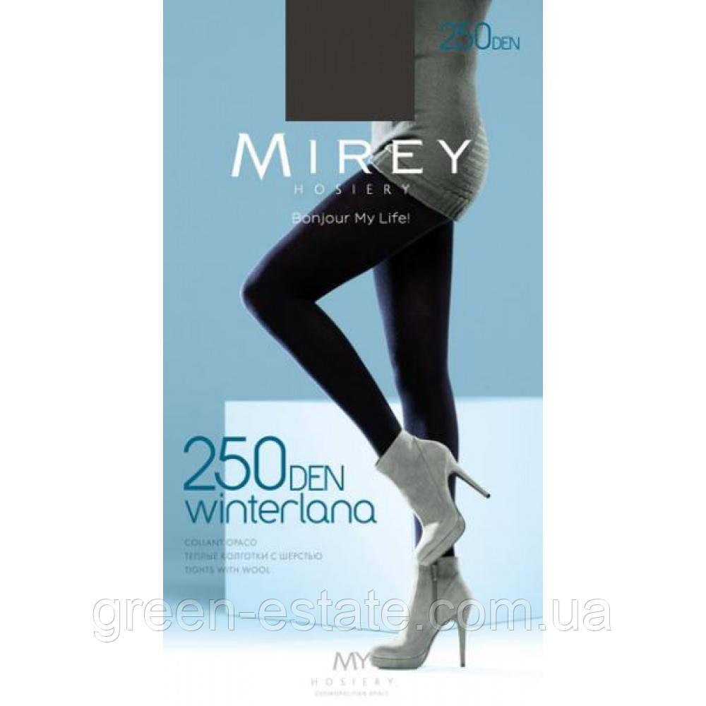 Теплые матовые колготки Mirey Винтерлана 250 ден L черные