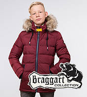 Braggart Kids | Зимняя куртка на мальчика 68255 бордовая