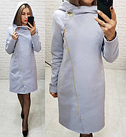 Женское пальто теплое кашемировое с капюшоном осень длина 95 см цвет серый