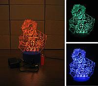 3d-светильник Джокер, 3д-ночник, несколько подсветок (батарейка+220В)