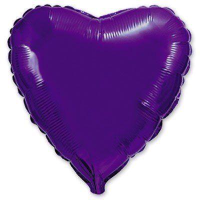 """Фольгированный шар сердце фиолетовый 18"""" Flexmetal"""