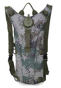 Гидратор с рюкзаком 3 лита. Тактическая питьевая система KMS camelbak пиксель серый.
