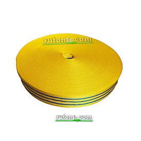 Желтая капроновая лента 50 мм 50 м буксировочная для стяжных ремней 2т на разрыв