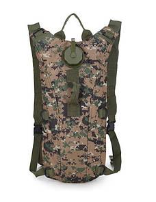 Гидратор с рюкзаком 3 лита. Тактическая питьевая система KMS camelbak пиксель зелёный.