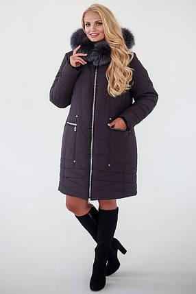 Зимняя Куртка женская   Laura (52-62) темно-коричневый, фото 2