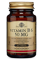 Solgar Vitamin B6 50 mg (100 таб) солгар витамин б6 пиридоксин