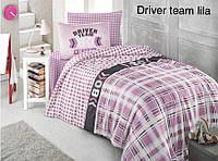 """Постельное бельё полуторное  """"Altinbasak"""" Driver time lila. Розовый"""
