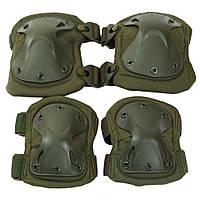 Наколенники и налокотники тактические KMS. Комплект защиты для ног и рук зеленые.