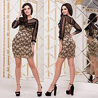 """Платье гипюровое короткое золотое вечернее """"Милана люкс"""", фото 1"""