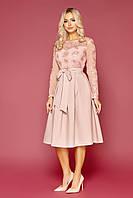 Шикарное светлое торжественное платье с сеткой пайеткой пышной юбкой с рукавом размер 42-50