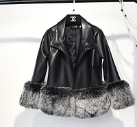 Красивая женская демисезонная куртка с искусственным мехом