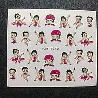 """Наклейка на ногти, наклейка для ногтей, ногтевой дизайн """"цветы девушки """" 20 шт набор"""