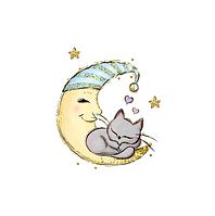 Сатин. Цифровая печать.Котик серый на луне 35*35