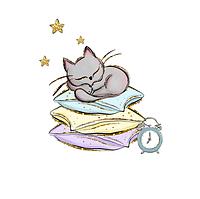 Сатин. Цифровая печать.Котик серый на подушке 35*35