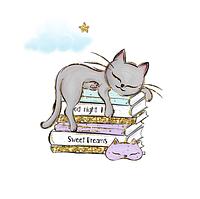 Сатин. Цифровая печать.Котик серый на книгах 35*35