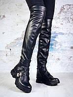 Демисезонные ботфорты на спортивной подошве черного цвета, натуральная кожа 39 ПОСЛЕДНИЙ РАЗМЕР