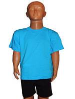 Футболка детская голубая , хлопок - детская 2 размера( от 4 до 7 лет) Акция