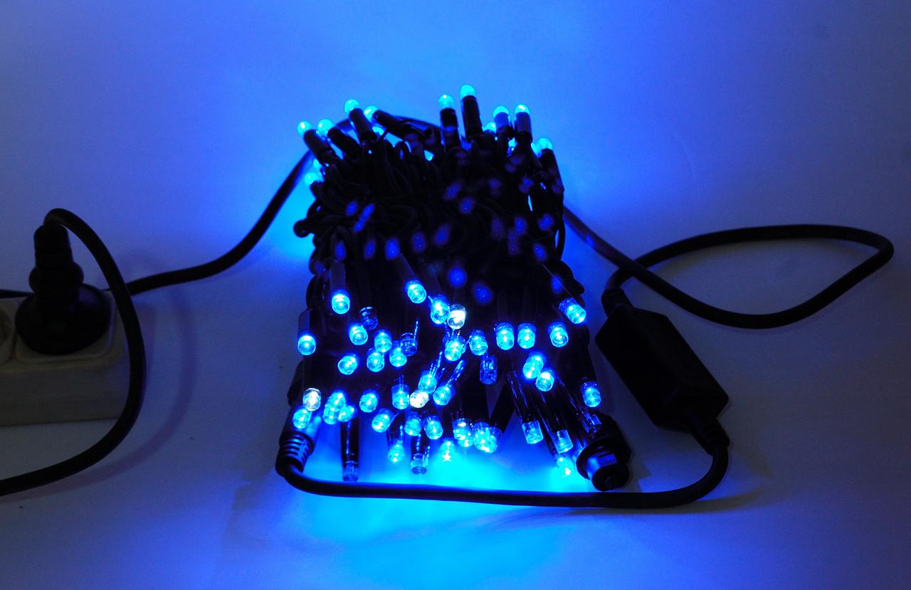 Гирлянда Нить (String) Синяя на чёрном проводе 10 Метр/ 100 ЛЕД - IP44