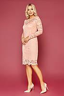 Размер 42-48 платье до колена нарядное гипюровое пудровое синее