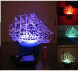 3d-светильник Корабль, 3д-ночник, несколько подсветок (батарейка+220В), подарок моряку