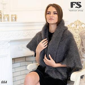 Оренбургский серый пуховой платок Джамалия 100