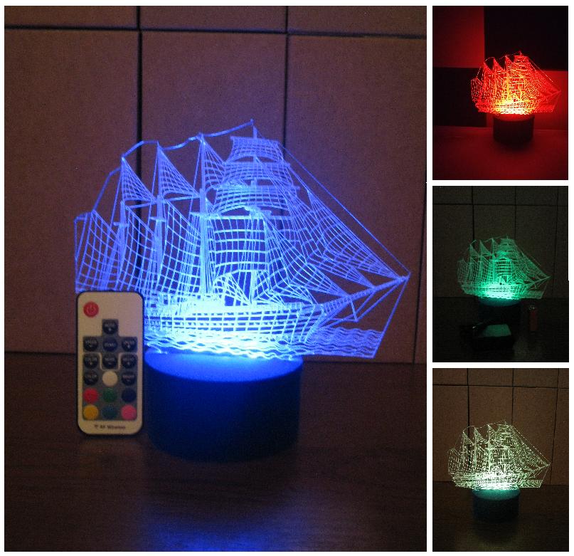 3d-светильник Корабль, 3д-ночник, несколько подсветок (на пульте), подарок моряку мальчику