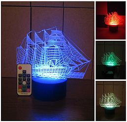 3d-світильник Корабель, 3д-нічник, кілька підсвічувань (на пульті)