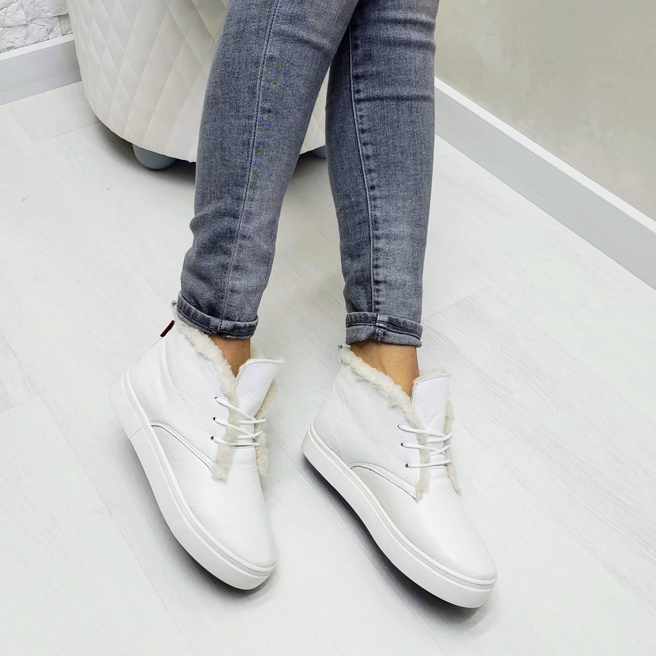 Женские зимние хайтопы белые кожаные WHYNOT