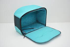 Сумка переноска туннель лежак для котов и собак VIP №1 200х400х310 плюш бирюзовая, фото 3