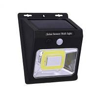 Настенный уличный светильник YX-628-COB, 1x18650, PIR+CDS, солнечная батарея