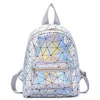 Женский рюкзак голографический блестящий школьный портфель жіночий ПАУТИНКА блеск3