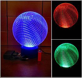 3d-світильник Баскетбольний м'яч, 3д-нічник, кілька підсвічувань (батарейка+220В)