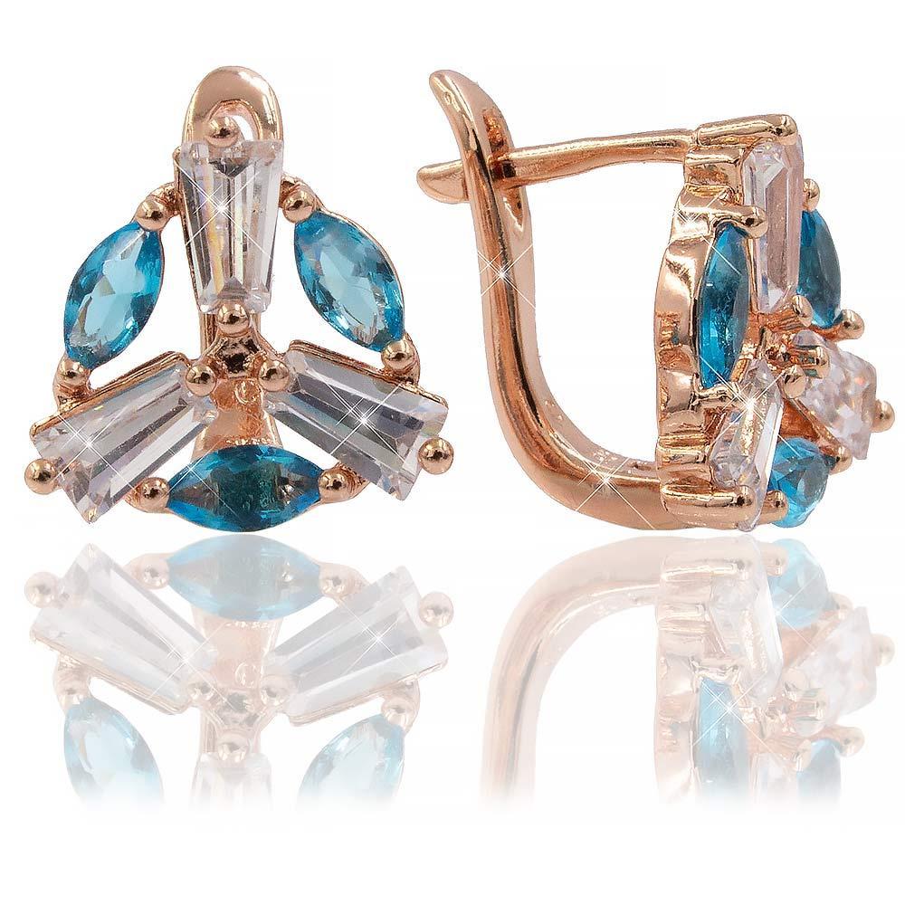 Серьги-классические — позолота, голубой