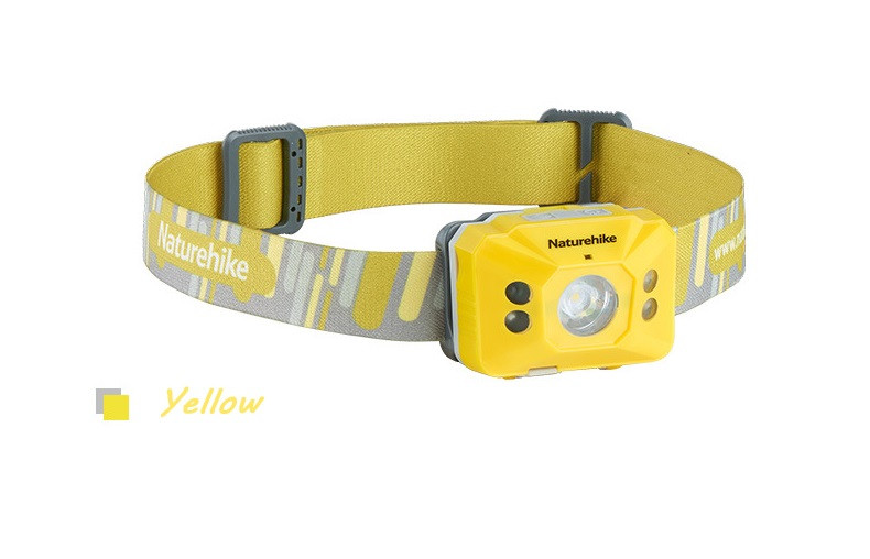 Налобний ліхтарик Naturehike з сенсором руху, з вбудованим акумулятором 1200mAh від USB жовтий