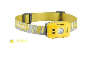 Налобный фонарик Naturehike с сенсором движения, со встроенным аккумулятором 1200mAh от USB желтый