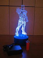 3d-светильник Железный человек в рост, 3д-ночник, несколько подсветок (батарейка+220В)